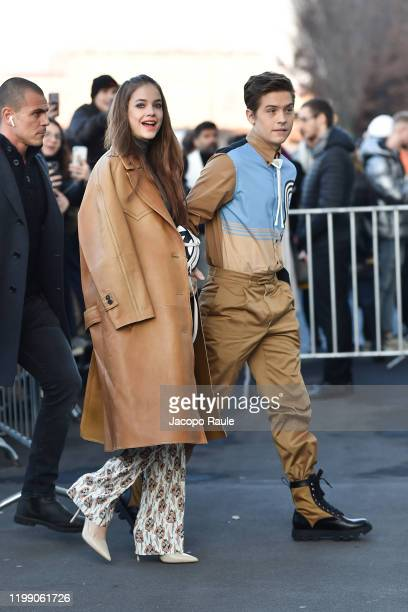 Barbara Palvin and Dylan Sprouse are seen at the Prada fashion show on January 12 2020 in Milan Italy