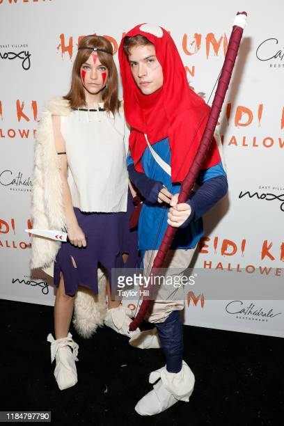 Barbara Palvin and Dylan Sprouse attend Heidi Klum's Annual Hallowe'en Party at Cathedrale on October 31 2019 in New York City