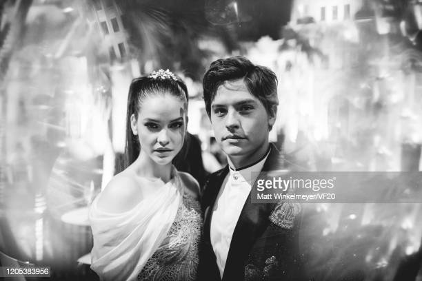 Barbara Palvin and Dylan Sprouse attend the 2020 Vanity Fair Oscar Party Hosted By Radhika Jones at Wallis Annenberg Center for the Performing Arts...