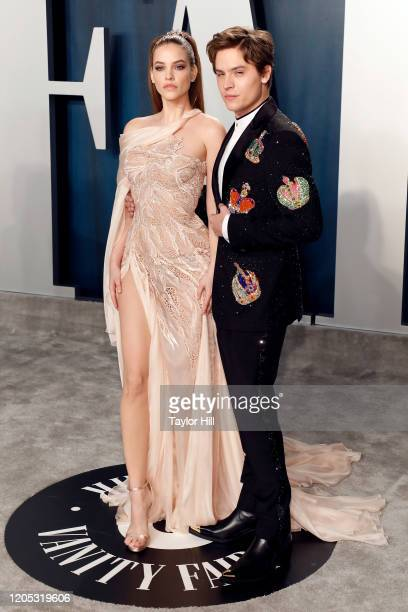 Barbara Palvin and Dylan Sprouse attend the Vanity Fair Oscar Party at Wallis Annenberg Center for the Performing Arts on February 09 2020 in Beverly...
