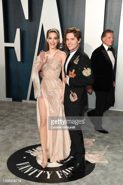 Barbara Palvin and Dylan Sprouse attends 2020 Vanity Fair Oscar Party Hosted By Radhika Jones at Wallis Annenberg Center for the Performing Arts on...
