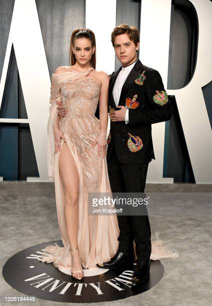 Barbara Palvin and Dylan Sprouse attends the 2020 Vanity Fair Oscar Party hosted by Radhika Jones at Wallis Annenberg Center for the Performing Arts...