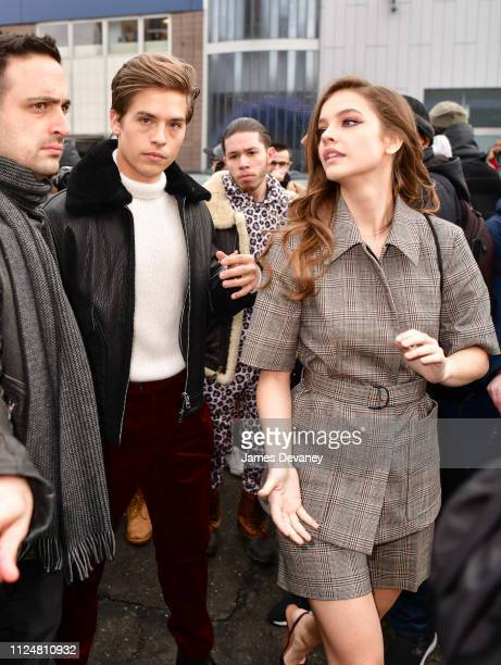 Barbara Palvin and Dylan Sprouse leave the BOSS fashion show at Pier 36 on February 13 2019 in New York City