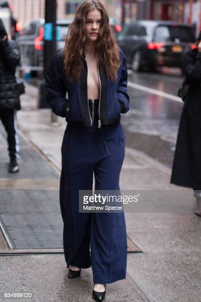 Barbara Palvin is seen attending Public School during New York Fashion Week wearing a navy blazer and navy pants on February 12 2017 in New York City