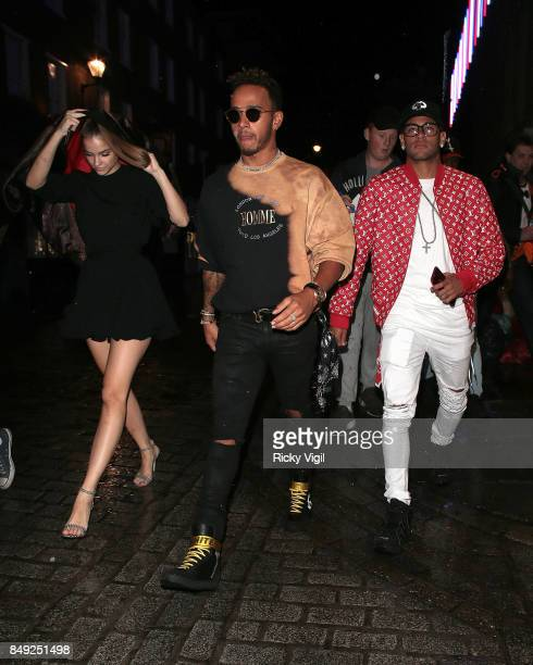 Barbara Palvin Lewis Hamilton and Neymar seen at Miu Miu X LOVE Magazine party at No 5 Hertford Street during London Fashion Week September 2017 on...