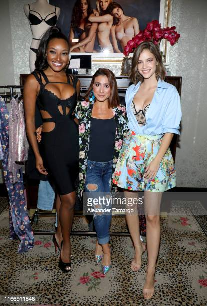 Barbara Palvin poses with influencers during Victoria's Secret Debut of the New Fall Collection on August 08 2019 in Miami Florida