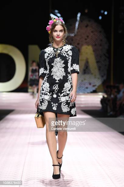 Barbara Palvin walks the runway at the Dolce Gabbana show during Milan Fashion Week Spring/Summer 2019 on September 23 2018 in Milan Italy