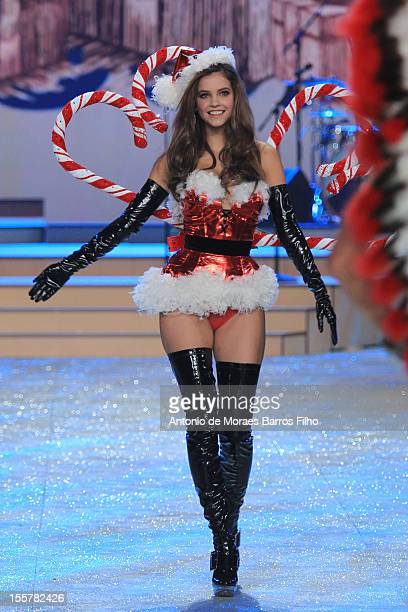 Barbara Palvin walks the runway during the 2012 Victoria's Secret Fashion Show at the Lexington Avenue Armory on November 7 2012 in New York City