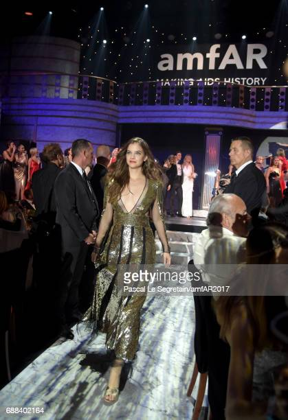 Barbara Palvin wearing Alexander McQueen walks the runway in the fashion show during the amfAR Gala Cannes 2017 at Hotel du Cap-Eden-Roc on May 25,...