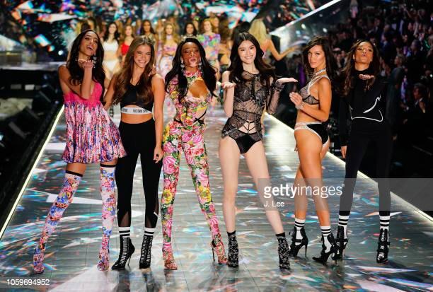 Barbara Palvin, Winnie Harlow, Sui He, Bella Hadid at 2018 Victoria's Secret Fashion show at Pier 94 on November 8, 2018 in New York City.