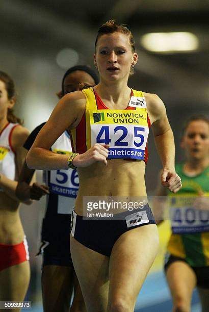 Barbara Parker in action in the 3 000 metres during the Norwich Union World Indoor Athletics Trials at the English Institue of Sport February 7 2004...