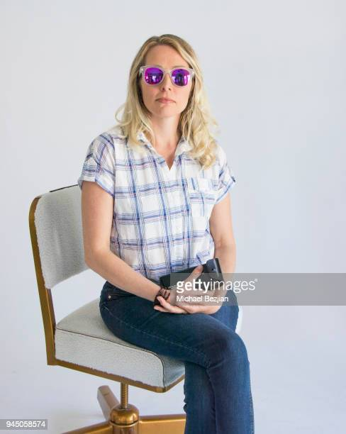 Barbara Perrin wearing Foster Grant glasses sitting in an Ulloo42 at Visual Snow Initiative visits The Artists Projecton April 11 2018 in Los Angeles...