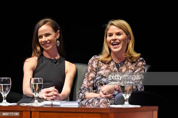 Barbara Pierce Bush and Jenna Bush Hager are interviewed by Emily Bingham during the Sisters First tour at Bomhard Theater on November 1 2017 in...