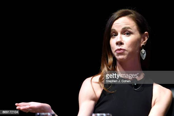 Barbara Pierce Bush is interviewed by Emily Bingham during the Sisters First tour at Bomhard Theater on November 1 2017 in Louisville Kentucky