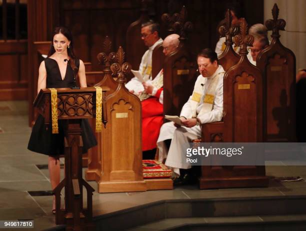 Barbara Pierce Bush speaks during the funeral for her grandmother and former first lady Barbara Bush at St Martin's Episcopal Church on April 21 2018...