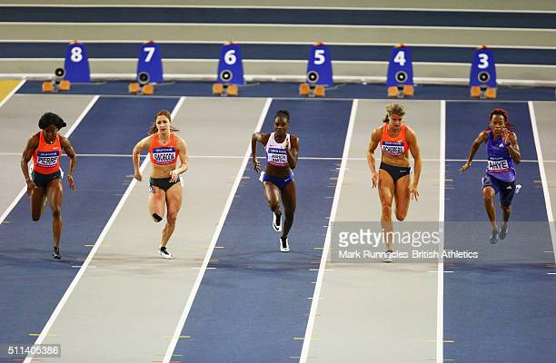 Barbara Pierre of the United States Ewa Swoboda of Poland Dina AsherSmith of Great Britain Dafne Schippers of the Netherlands and MichelleLee Ahye of...