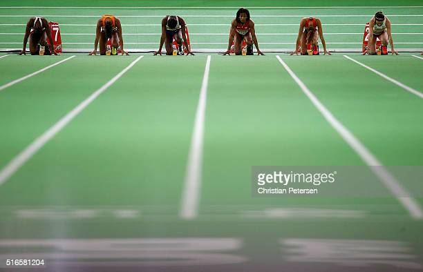 Barbara Pierre of the United States looks up at the start of the Women's 60 Metres Semi Final during day three of the IAAF World Indoor Championships...