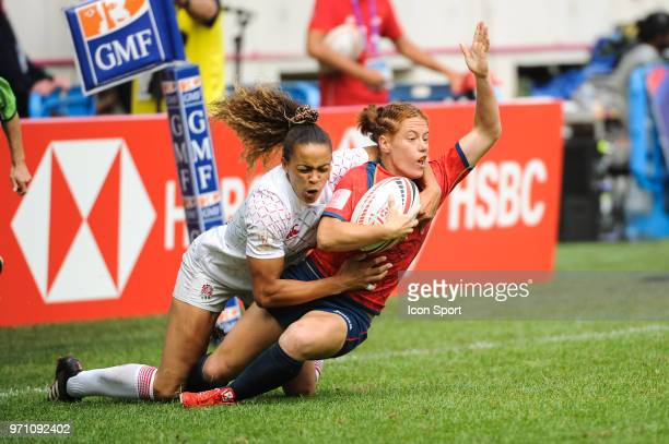 Barbara Pla of Spain during the women match between Spain and England at the HSBC Paris Sevens stage of the Rugby Sevens World Series at Stade Jean...