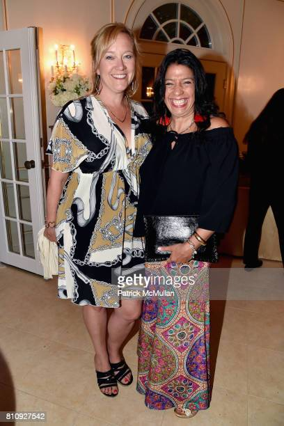 Barbara Poliwoda and Lisa Anastos attend Katrina and Don Peebles Host NY Mission Society Summer Cocktails at Private Residence on July 7 2017 in...
