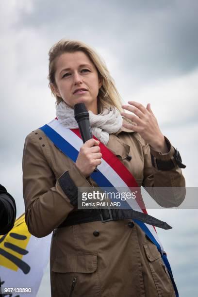 Barbara Pompili députée de la Somme Coprésident du groupee EELV à l'assemblée nationale lors de la manifestation contre la ferme des 100 vaches le 30...
