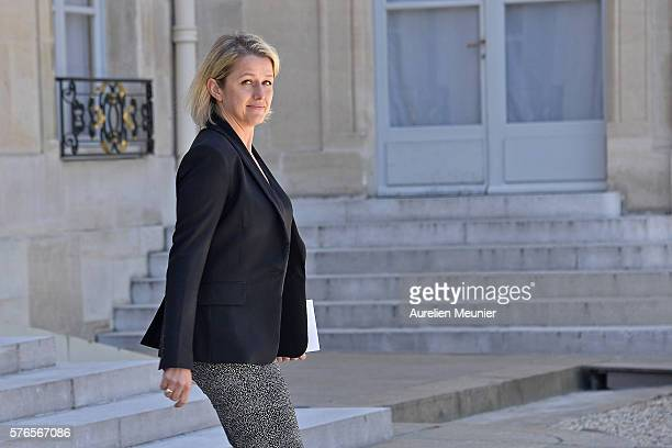 Barbara Pompili Secretary of State in charge of Biodiversity leaves the restricted session of the council of security and defence at Elysee Palace on...