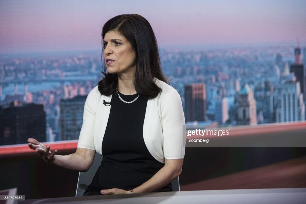 Barbara Reinhard, head of asset allocation for Voya Investment Management LLC, speaks during a Bloomberg Television interview in New York, U.S., on Wednesday, Aug. 16, 2017. Reinhard discussed geopolitical tensions and the low probability of a recession. Photographer: Victor J. Blue/Bloomberg via Getty Images