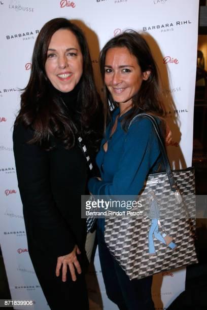 Barbara Rihl and Emmanuelle Boidron attend Reem Kherici signs her book 'Diva' at the Barbara Rihl Boutique on November 8 2017 in Paris France