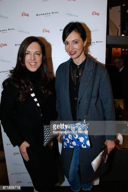 Barbara Rihl and Geraldine Maillet attend Reem Kherici signs her book 'Diva' at the Barbara Rihl Boutique on November 8 2017 in Paris France
