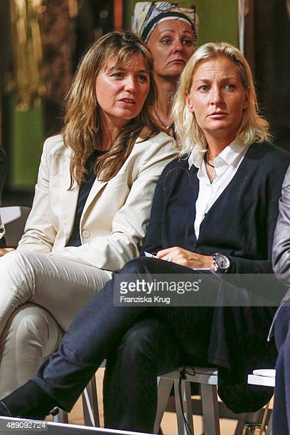 Barbara Rittner and guest attend the 'La Boum Fashion Studio' by Soccx in Hoppegarten on September 18 2015 Berlin Germany