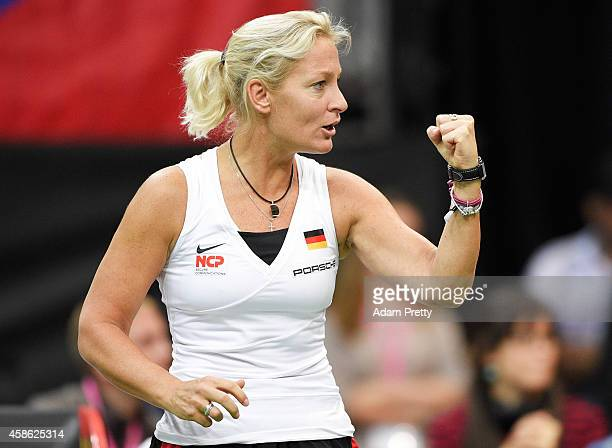 Barbara Rittner cheers for Angelique Kerber of Germany during the second rubber of the Fed Cup Final between Lucie Safarova of the Czech Republic and...