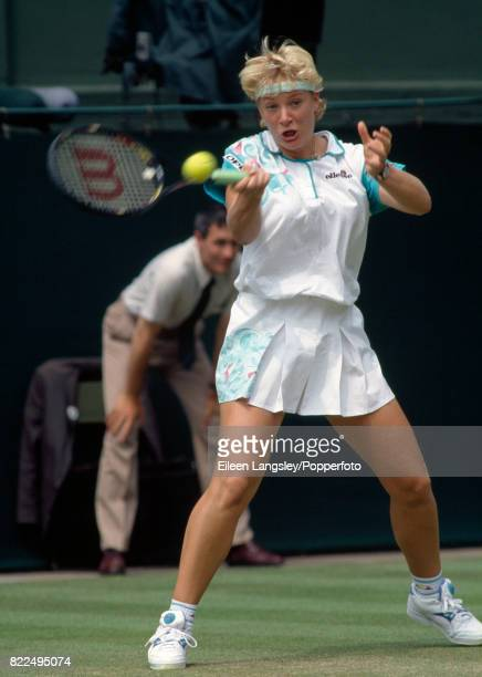Barbara Rittner of Germany in action during a women's singles match at the Wimbledon Lawn Tennis Championships in London, circa June, 1992. Rittner...