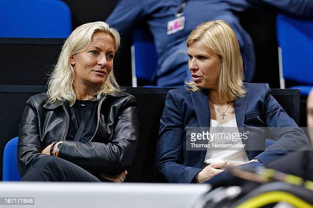Barbara Rittner team captain of Germany and Anke Huber are seen during day one of the WTA Porsche Tennis Grand Prix at PorscheArena on April 22 2013...