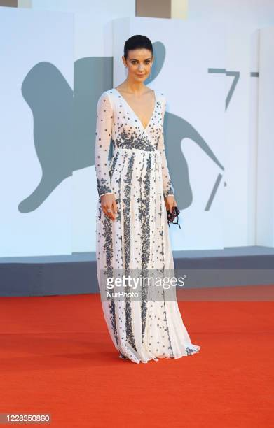 """Barbara Ronchi walks the red carpet ahead of the movie """"Padrenostro"""" at the 77th Venice Film Festival at on September 04, 2020 in Venice,..."""