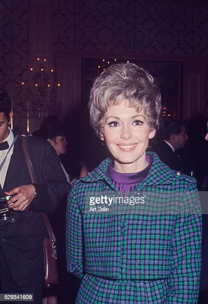 Barbara Rush wearing a green and purple checked jacket circa 1970 New York
