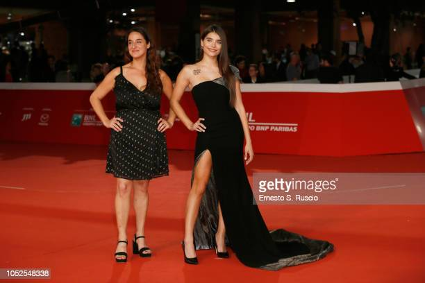 Barbara SarasolaDay and Eva De Dominici walk the red carpet ahead of the 'Sangre Blanca' screening during the 13th Rome Film Fest at Auditorium Parco...