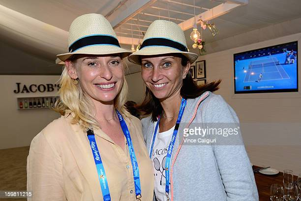 Barbara Schett and Iva Majoli pose at the Australian Open Legends Access Hour during day eight of the 2013 Australian Open at Melbourne Park on...
