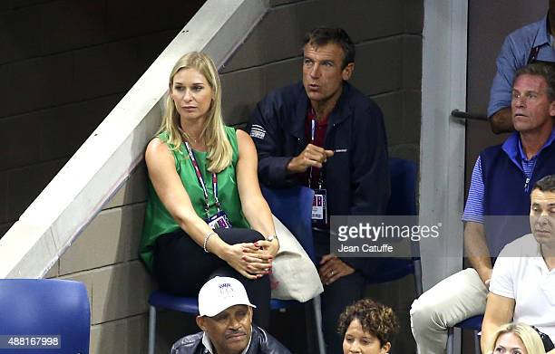 Barbara Schett and Mats Wilander attend the Men's Final on day fourteen of the 2015 US Open at USTA Billie Jean King National Tennis Center on...