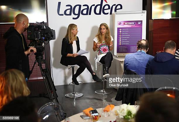 Barbara Schett interviews Arantxa SanchezVicario as she returns as ambassador to BNP Paribas WTA Finals Singapore on day ten of the 2016 French Open...