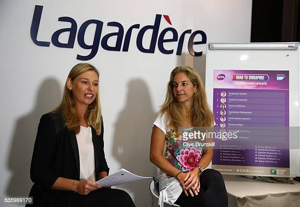 Barbara Schett interviews Arantxa Sanchez-Vicario as she returns as ambassador to BNP Paribas WTA Finals Singapore on day ten of the 2016 French Open...