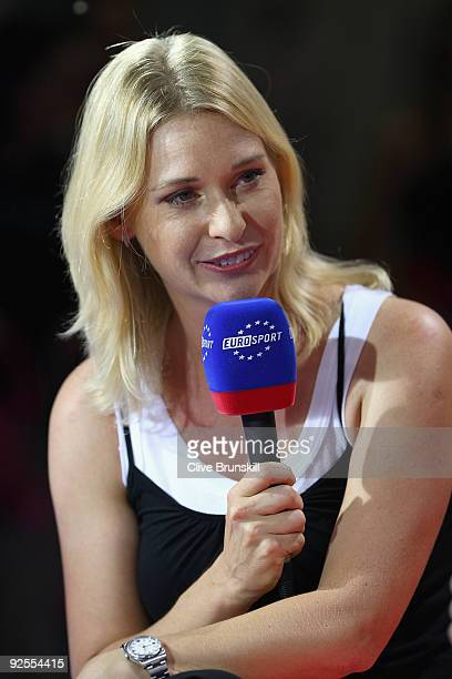 Barbara Schett of Austria and Eurosport TV during the Sony Ericsson Championships at the Khalifa Tennis and Squash Complex on October 30, 2009 in...