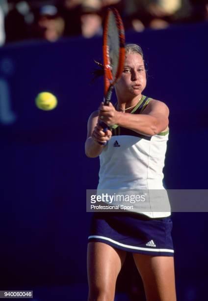 Barbara Schett of Austria in action during the Australian Open Tennis Championships at Flinders Park in Melbourne, Australia circa January 1999.