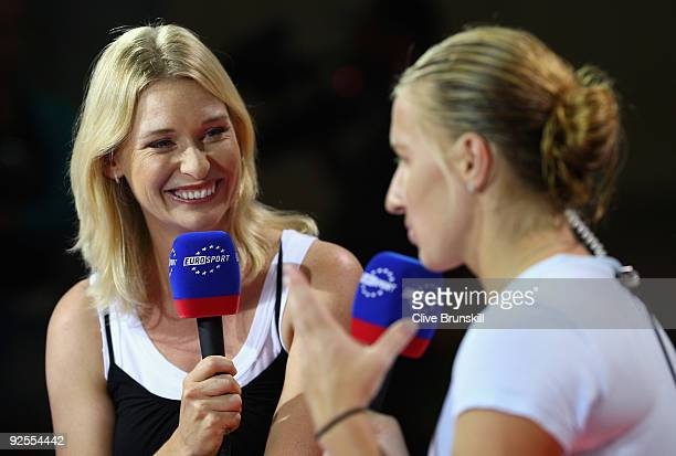 Barbara Schett of Austria interviews Svetlana Kuznetsova of Russia on air for Eurosport TV channel during the Sony Ericsson Championships at the...