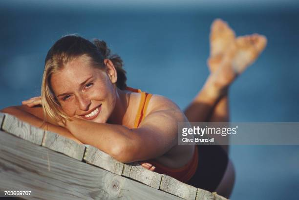 Barbara Schett of Austria poses for a portrait on the beach in Key Biscayne during the ATP Lipton Tennis Championship on 12 March 1999 in Key...