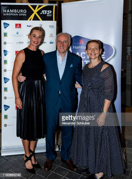 Barbara Schett-Eagle, Peter- Michael Reichel and Sandra Reichel attend the Hamburg Open 2019 Players Party at Tortue on July 23, 2019 in Hamburg,...