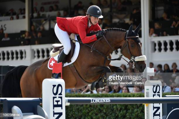 Barbara Schneeiger of Switzerland riding Cicero F during Longines FEI Jumping Nations Cup Final Competition on October 7 2018 in Barcelona Spain