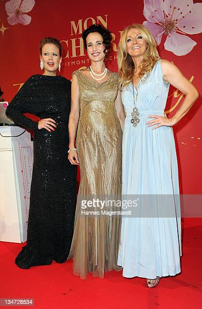 Barbara Schoenberger Andie MacDowell and Frauke Ludowig attend the 'Mon Cheri Barbara Day' Charity event at Muellersches Volksbad on December 3 2011...