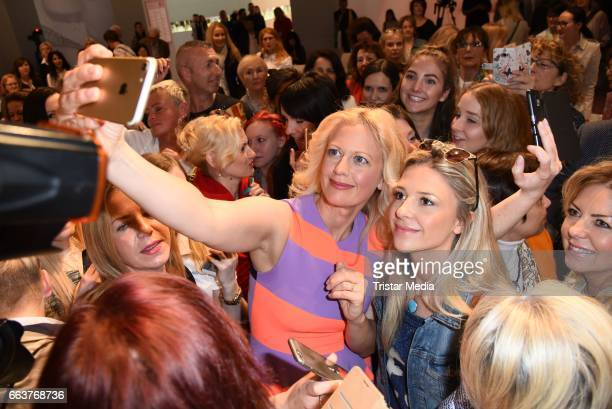 Barbara Schoeneberger and fans during a Beauty Talk at the Beauty Top Hair Fair on April 2 2017 in Duesseldorf Germany