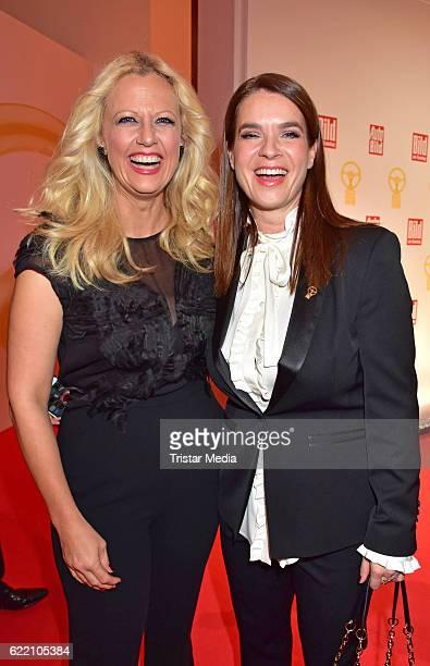 Barbara Schoeneberger and Katarina Witt attend the 'Goldenes Lenkrad' Award at Axel Springer Haus on November 8 2016 in Berlin Germany