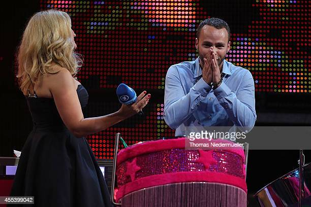 Barbara Schoeneberger and Marlon Roudette are seen during the SWR3 New Pop Festival 'Das Special' at Festspielhaus on September 13 2014 in BadenBaden...