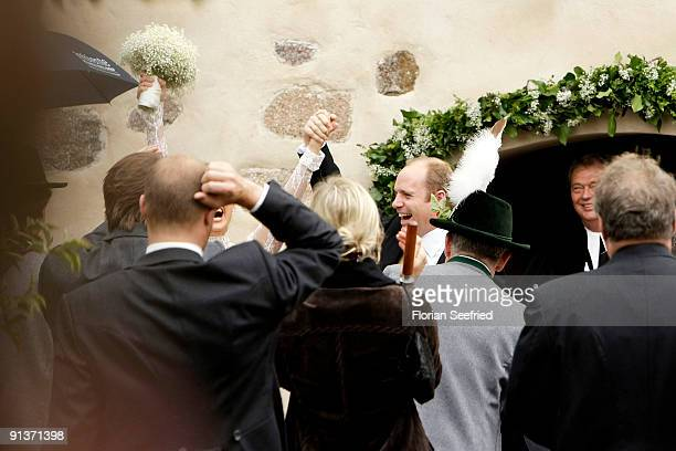 Barbara Schoeneberger and Maximilian von Schierstaedt attend their church wedding at the church of Rambow on October 3 2009 in Rambow Germany
